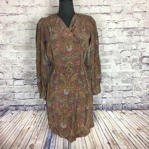 Vtg vintage 100% silk boho paisley Button Up dress